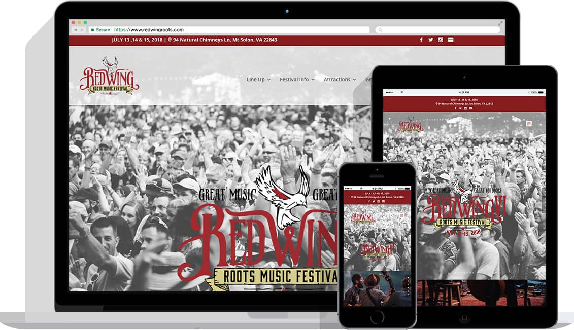 Apple devices showing Red Wing Roots Festival website